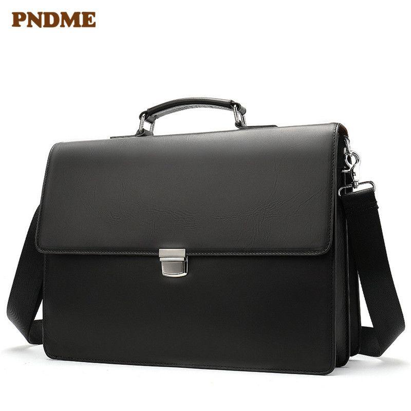 PNDME hohe qualität geschäfts echtes leder schwarz herren aktentasche casual einfache laptop tasche büro schulter messenger taschen 2019