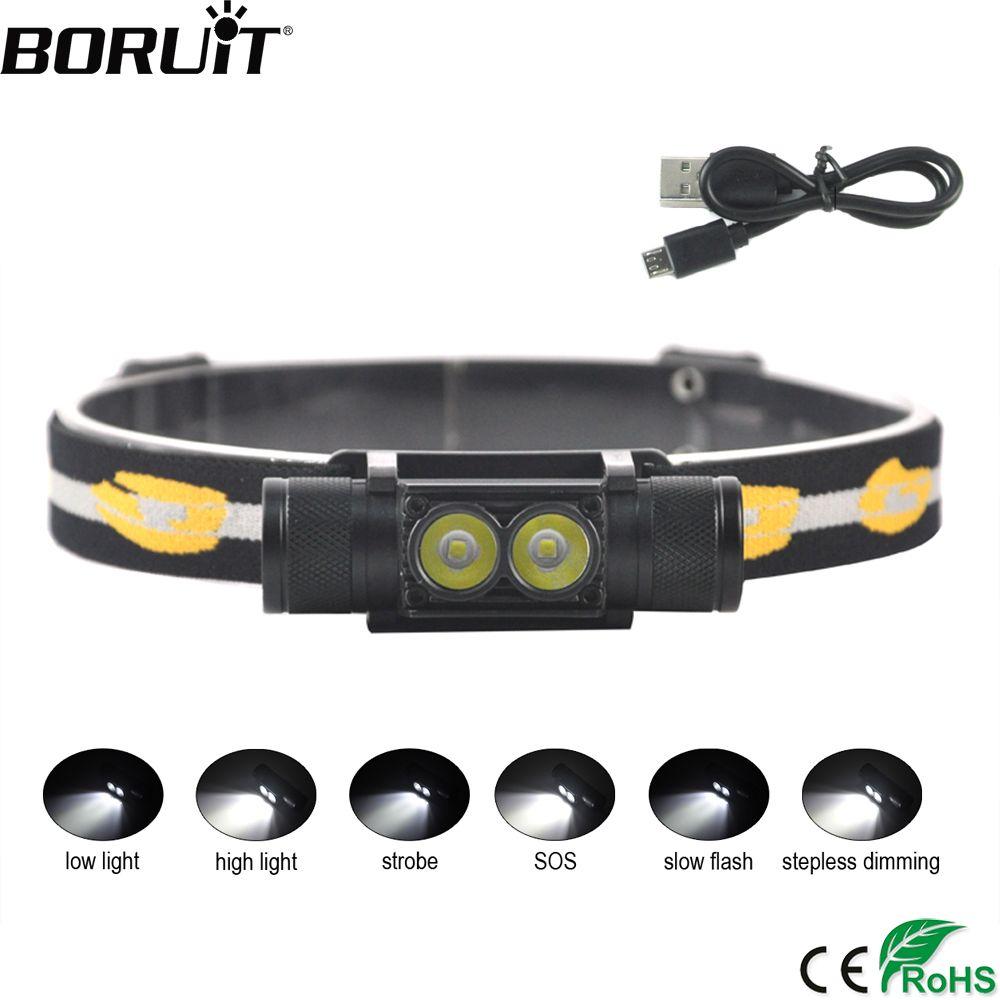 BORUiT D25 XP-G2 LED Mini <font><b>Headlight</b></font> 6-Mode USB Charger Headlamp Camping Flashlight Hunting Frontal Head Torch by 18650 Battery