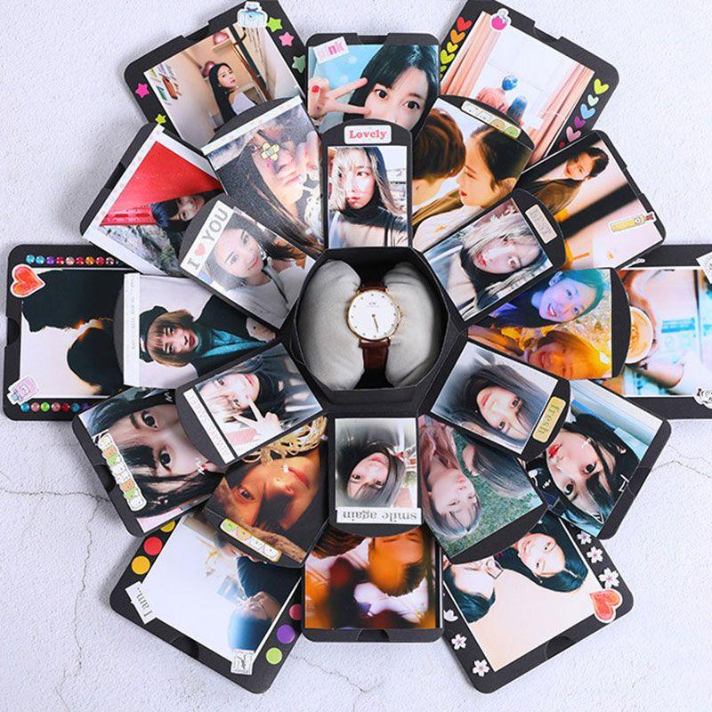 DIY Handmade Photo Album Hexagonal Explosion Box 12 Institutions <font><b>Lovers</b></font> Friends Gifts Romantic Album Birthday Wedding Supplies