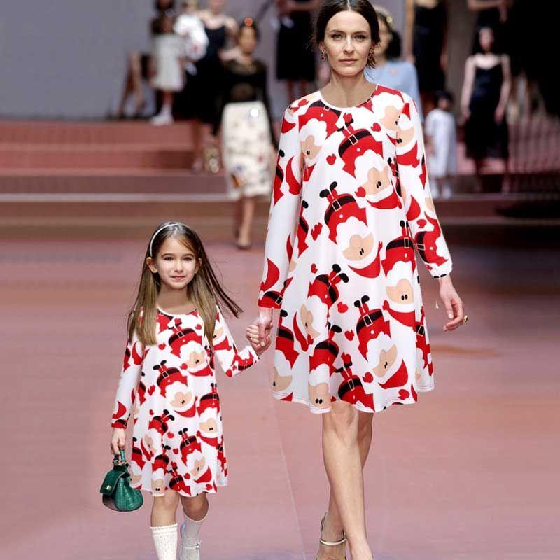 Рождественское платье платья для мам и дочек семейные комплекты платья с длинными рукавами с семейном стиле для мам и маленьких девочек