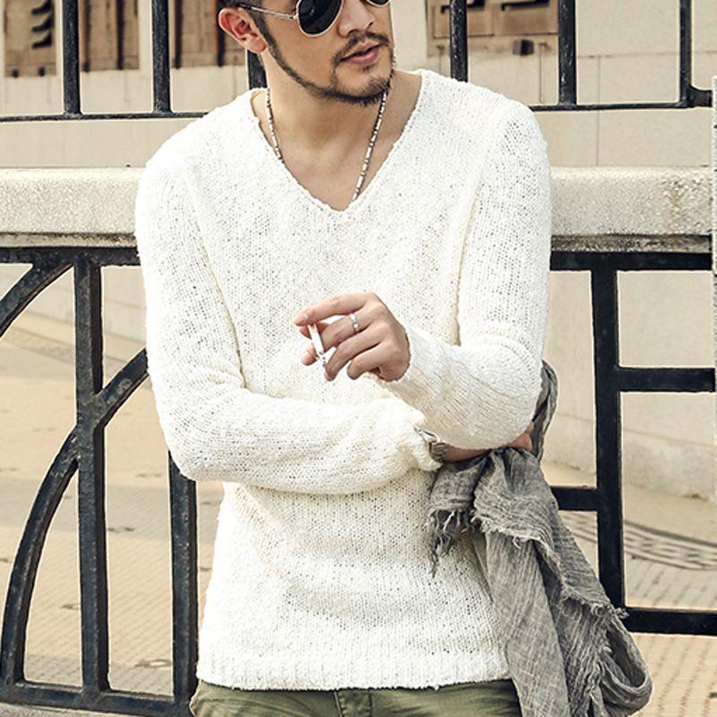 Пуловер Для мужчин свитер с v-образной горловиной Для мужчин бренд Slim Fit Пуловеры для женщин свитер для повседневной носки трикотаж тянуть ...