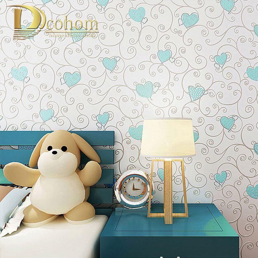 Non-woven Home Decoration Wallpaper Kids Room Princess Blue/pink Color Cartoon Wall Paper 3d Papel De Parede Roll R490
