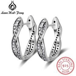 Vintage Style Real Pure 925 Sterling Silver Cubic Zirconia Hoop Earrings Twisted Earrings For Women Fine Jewelry (Lam Hub Fong)