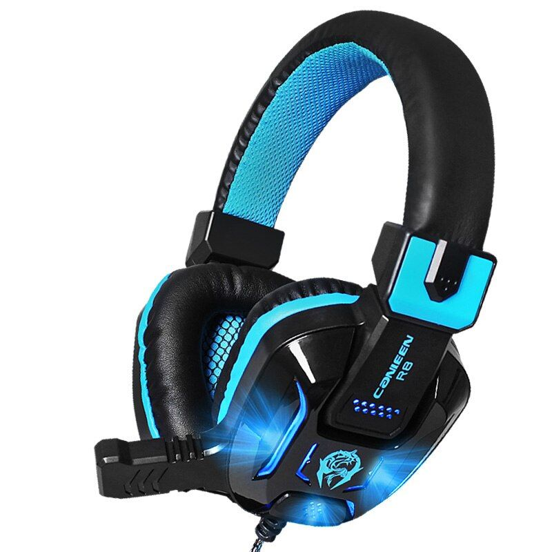 Canleen R8 Stereo Surrounded Deep Bass Gaming Headset LED Noise <font><b>Canceling</b></font> Headphones with Microphones Over-Ear Earphone for PC