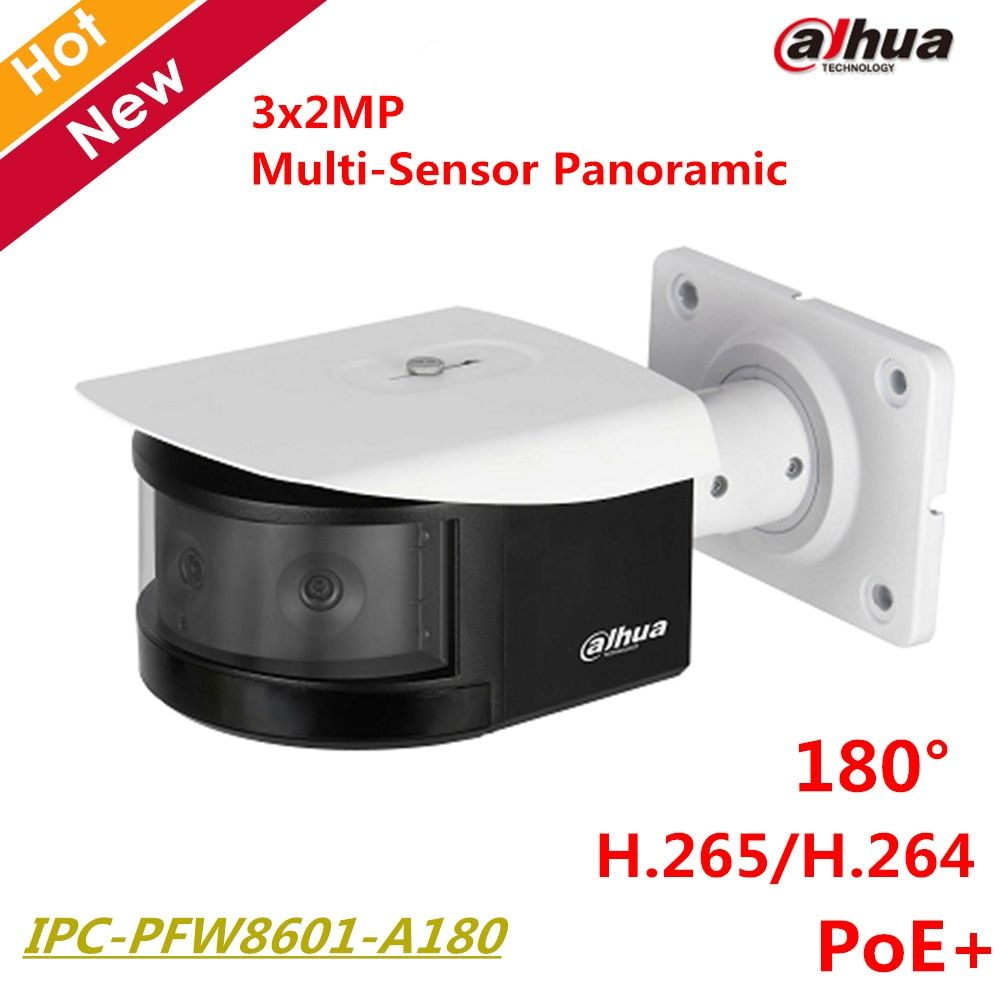 Dahua HD 180 Degree Panoramic IP Camera 3x2MP Panoramic IR Night Vision Bullet Camera IR30m Support POE+ IPC-PFW8601-A180