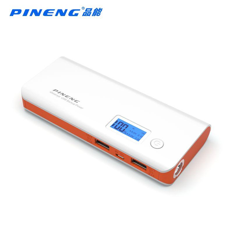 Origine PINENG 10000 mah Puissance Banque PN-968 Batterie Externe Powerbank 968 Double Sortie USB Avec lampe de Poche pour Téléphone Intelligent