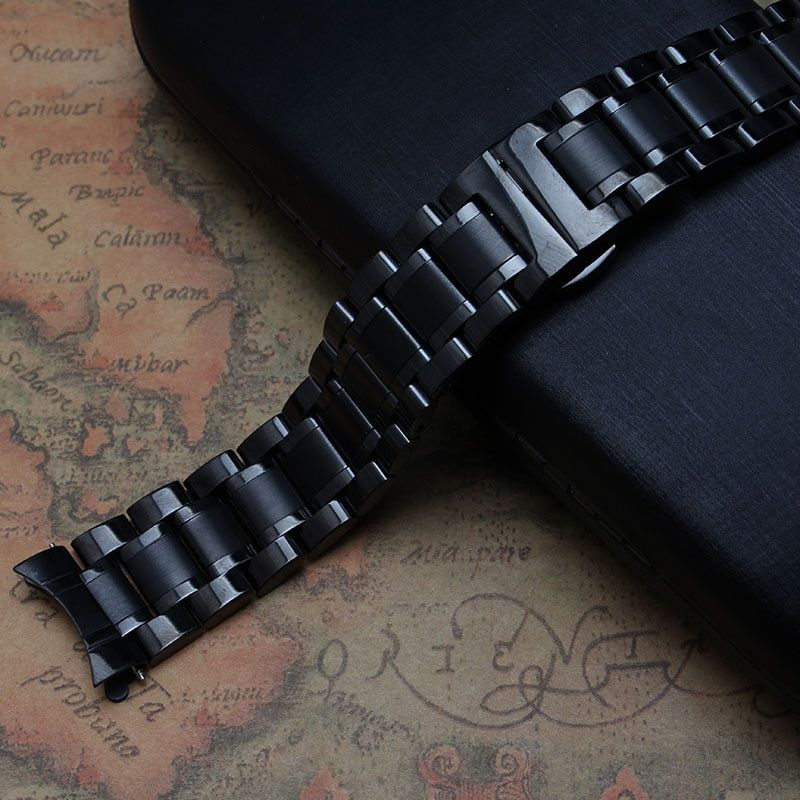 Black color Pure Solid Stainless Steel Watch Band Strap 14 15 16 17 18 19 20 21 22 23mm Watchband accessories replacement common