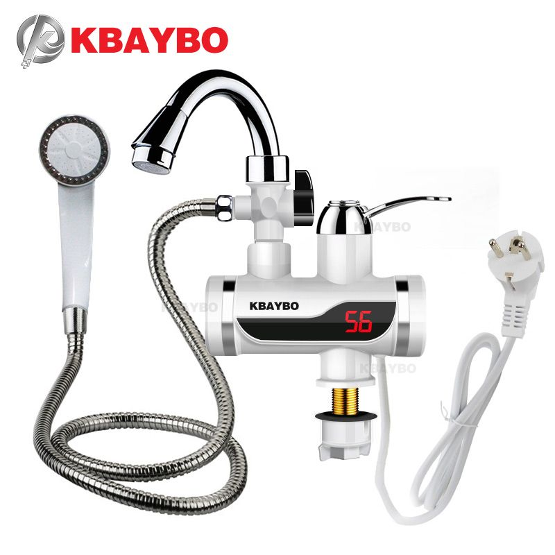 3000W <font><b>Temperature</b></font> Display Instant Hot Water Tap Tankless Electric Faucet Kitchen Instant Hot Faucet Water Heater Water Heating