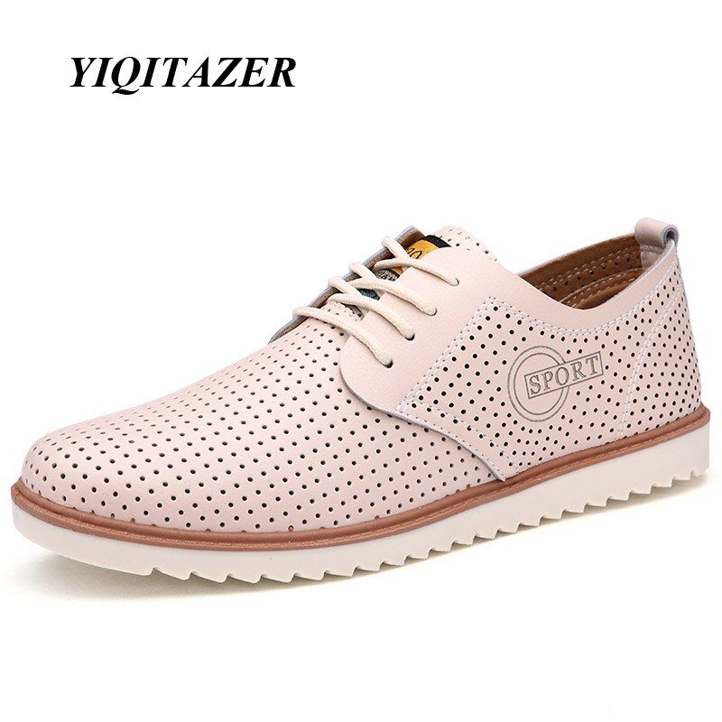 YIQITAZER 2017 New Summer Fashion Casual Shoes Men,Breathable Cool Lace up High Quality Man Leather Shoes Size 7-9.5