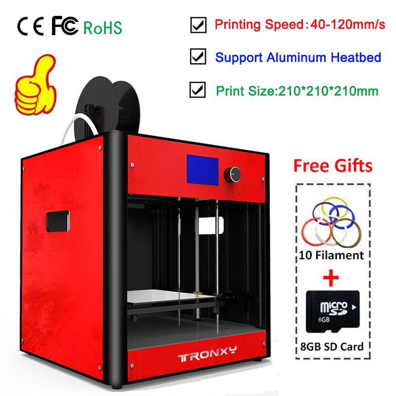 Tronxy Red 3D Printer kit FDM 3D Metal Dual Fans Dual Z Lead Screw Heatbed 3D Printering Size 210*210*210mm Full Metal Assembled