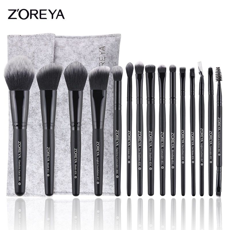 ZOREYA 15pcs Professional Makeup Brushes Set Natural Soft Bristles Foundation Blush Eyeshadow Cosmetic Brush Make Up Tools