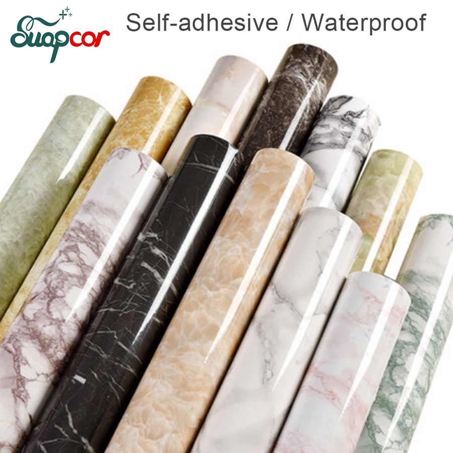 Papier de contact moderne de cuisine de papier peint de PVC auto-adhésif de film décoratif de marbre de 3 M/5 M pour des autocollants de mur imperméables de salle de bains