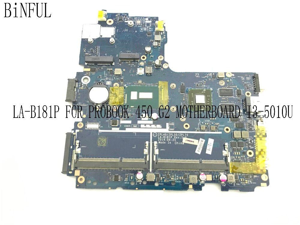 BiNFUL 100% TESTED ZPL40/ZPL50/ZPL70 LA-B181P LAPTOP MOTHERBOARD FOR HP PROBOOK 450 G2 NOTEBOOK PC WITH I3-5010U