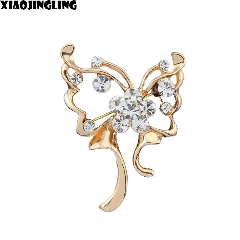 XIAOJINGLING Elegant Gold/Silver Crystal Rhinestones Butterfly Brooches Pins Dress Scarf Sweater Brooches Pins For Women Jewelry