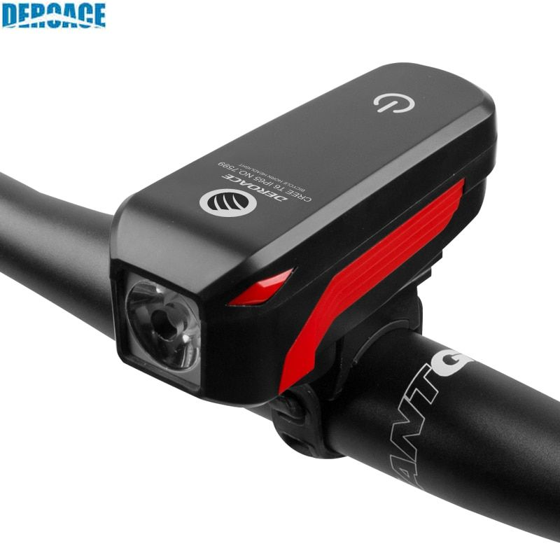 DEROACE Bicycle Light Waterproof USB Rechargeable Bike Warning Flashlight 350 Lumen 140dB Bicycle <font><b>bell</b></font> Bicycle accessories