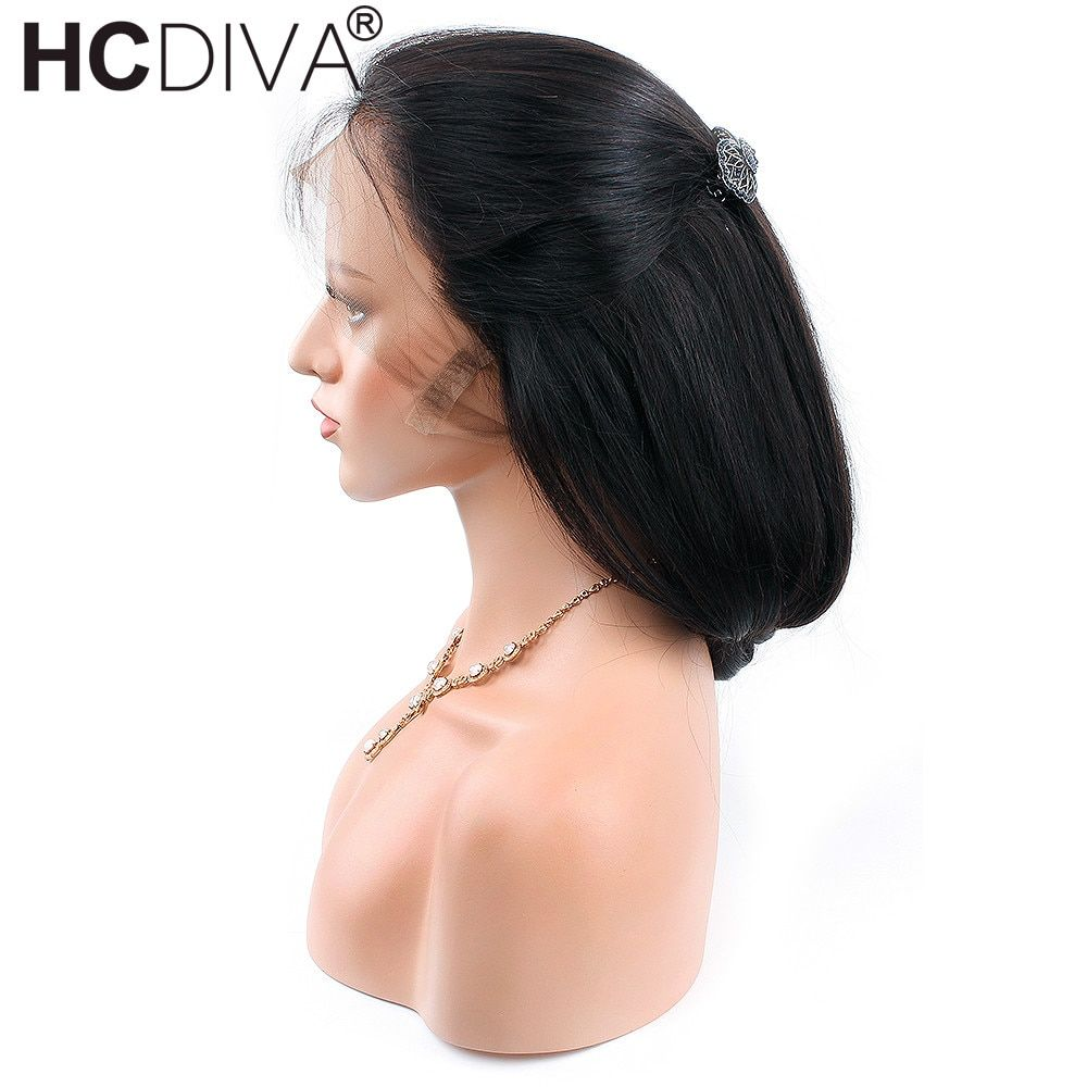 Peruvian Straight Remy Human Hair Wigs With Baby Hair 10-24inch Natural Black Color Density 130% 360 Lace frontal Wigs HCDIVA