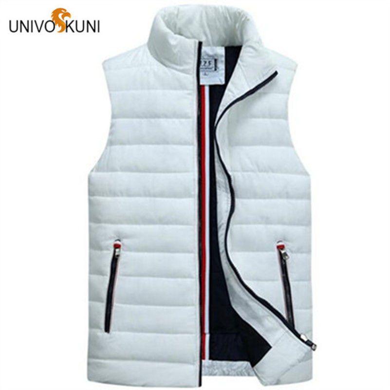 UNIVOS KUNI Men's Sleeveless Vest Homme Winter Casual Coats Male Cotton-Padded Thickening Vest Men Waistcoat Plus Size 5XL O175