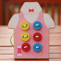 Bayi Diy Manik-manik Hantaman Papan Kayu Mainan Anak Balita Menjahit Tombol Pendidikan & Learning Teaching Aid Puzzle Kayu Hijau merah Muda