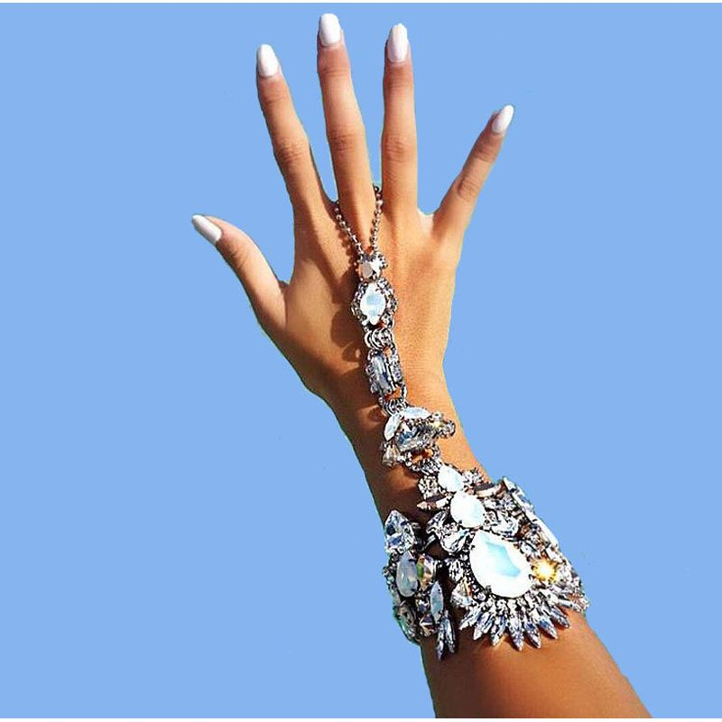 7 Colors Hot Style Fashion Bracelet Wedding maxi Jewelry Sexy hand Chain Statement Female Boho Crystal Bracelet 1pcs