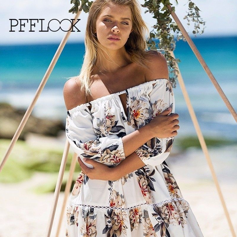 pfflook 2017 New Women's Beach dress lace summer female style Short sleeve Adjustable strapless off the shoulder print  clothing