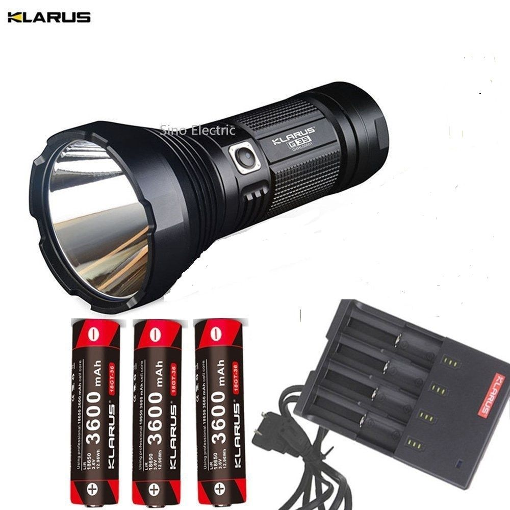 KLARUS G35 Torch XHP35 HI D4 LED 2000LM beam distance 1000 meter Flashlight + 3pcs Klarus 18650 3600mAh batteries + C4 charger