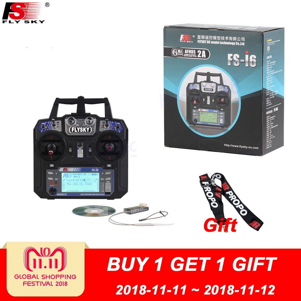 FlySky FS-i6 2.4G 6CH AFHDS RC Transmitter With FS-iA6 FS-iA6B <font><b>Receiver</b></font> for Airplane Heli UAV Multicopter Drone