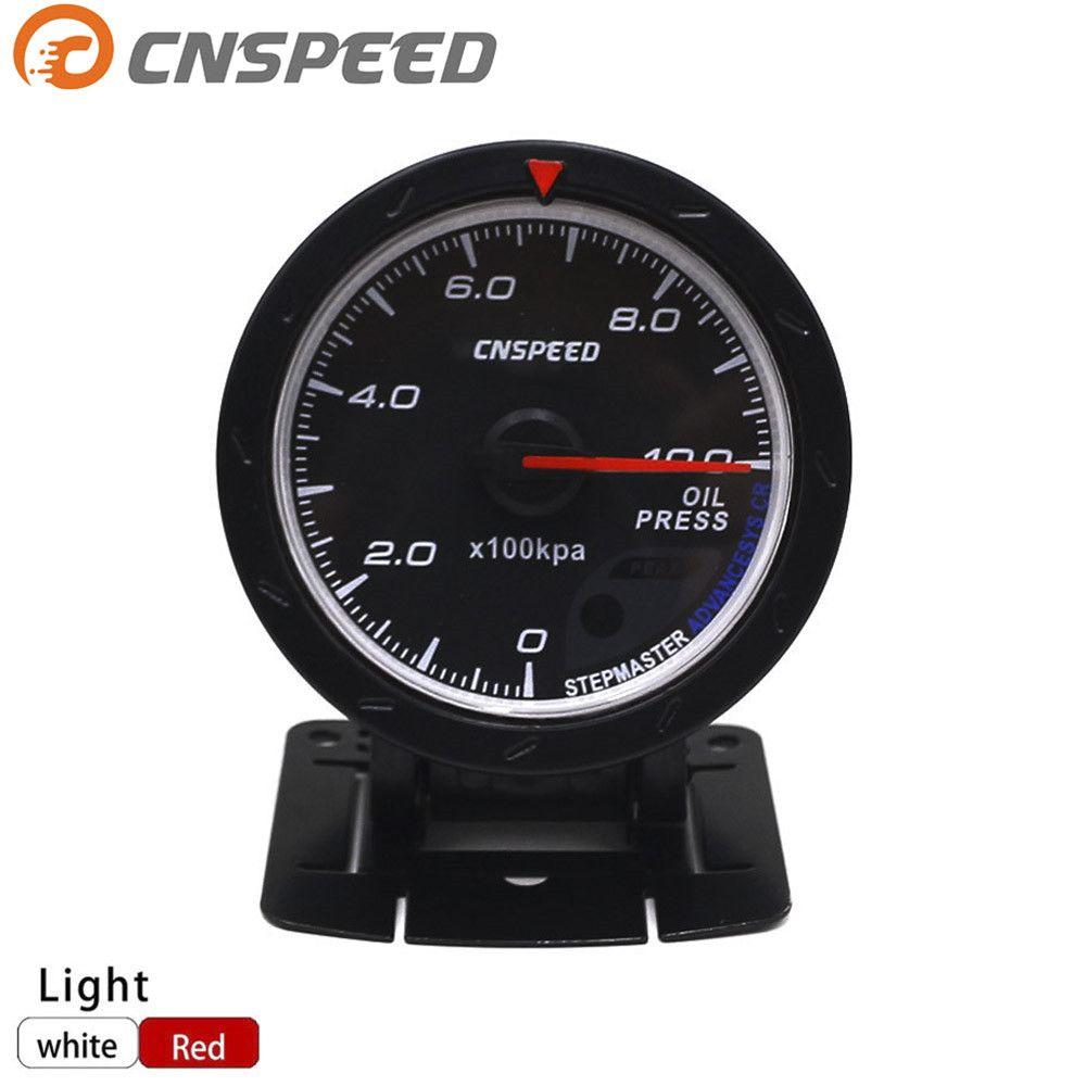Free shipping CNSPEED 60MM auto Car Oil pressure Gauge 0-10 BAR Oil Press Meter Red & White Lighting Car Meter YC101166