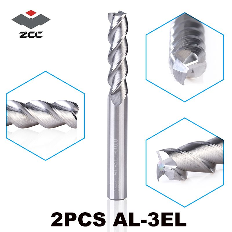 2pcs/lot ZCCCT AL-3EL D3.0-D8.0 solid carbide 3 4 5 6 8mm lengthening end mill long flute extension cutting edge cnc tools