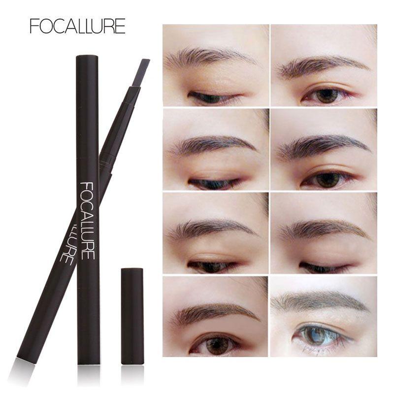 FOCALLURE Neue Wasserdichte 3 Farben Augenbraue Eyeliner Augenbrauen Stift Bleistift mit Pinsel Make-Up Kosmetik Werkzeuge