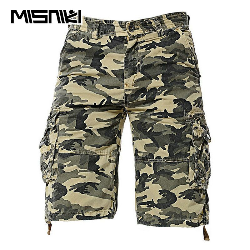 MISNIKI 2018 New Camouflage Summer Shorts Men Cotton Casual Mens Cargo Shorts Military Shorts Homens