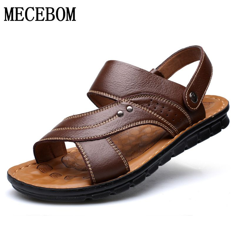 Summer Men Sandals Top Quality Genuine Leather Shoes Slip-on Slippers Male Comfortable Beach Brown Man Sandal zapatillas hombre