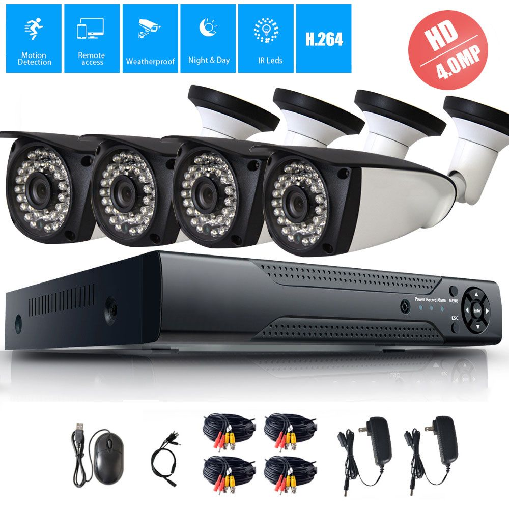 4MP 4CH Security AHD DVR CCTV System 4.0MP Outdoor Indoor Waterproof Surveillance IR Night Vision AHD Bullet Camera System