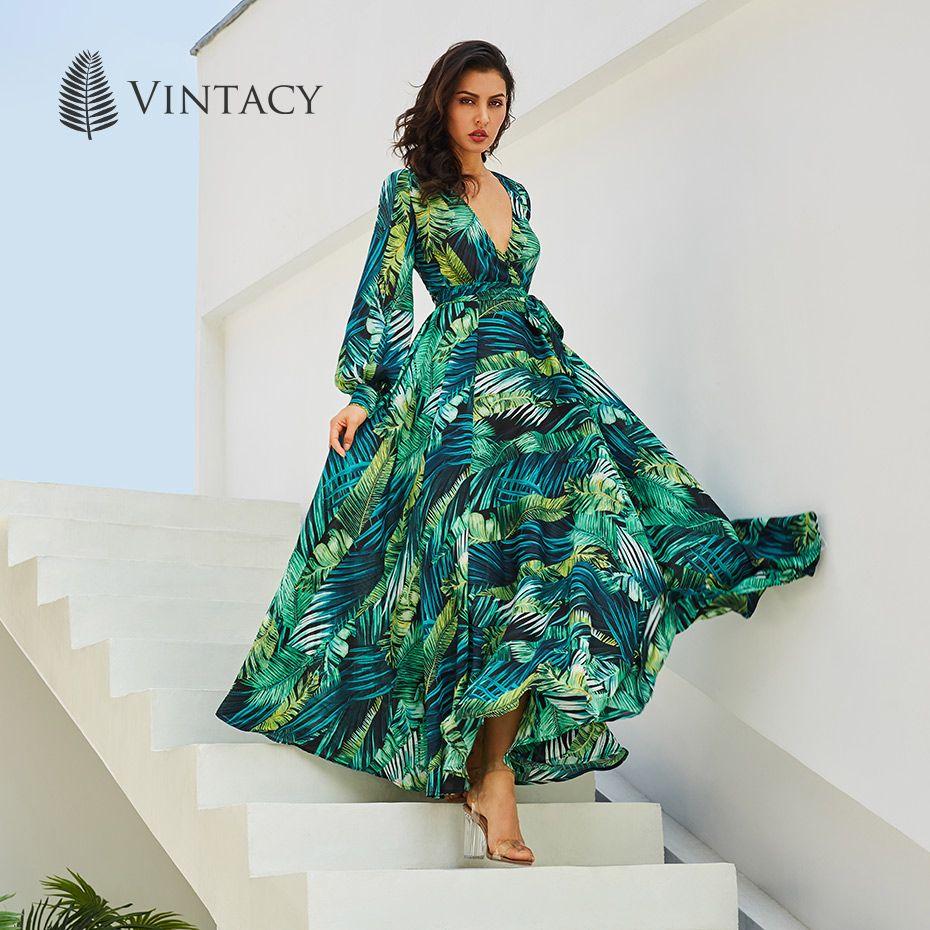 Vintacy Long Sleeve Dress Green Tropical Print Vintage Maxi Dresses Boho Casual V Neck Belt Lace Up Tunic Draped Plus Size Dress