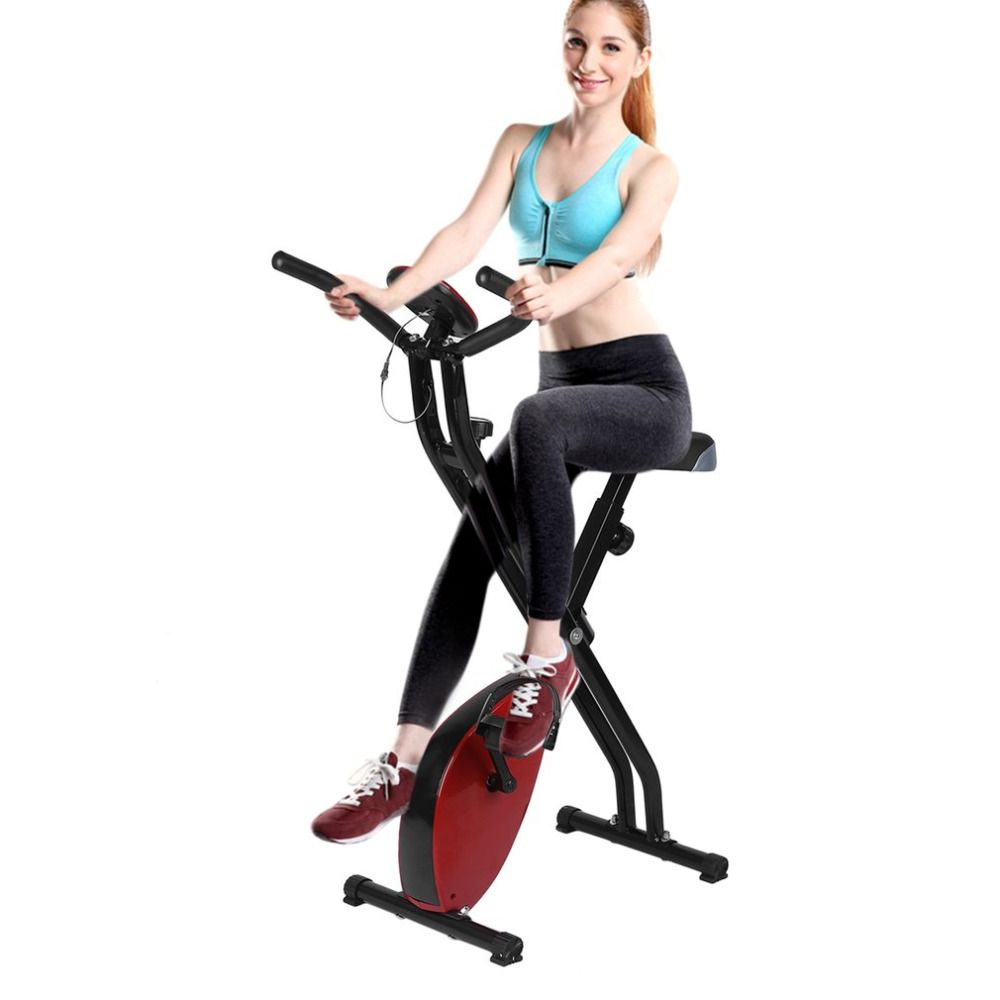 2018 Foldable Fitness Bike Household X Form Fitness Machine Adjustable Magnetic Upright Exercise Bicycle Mute Fitness Equipment