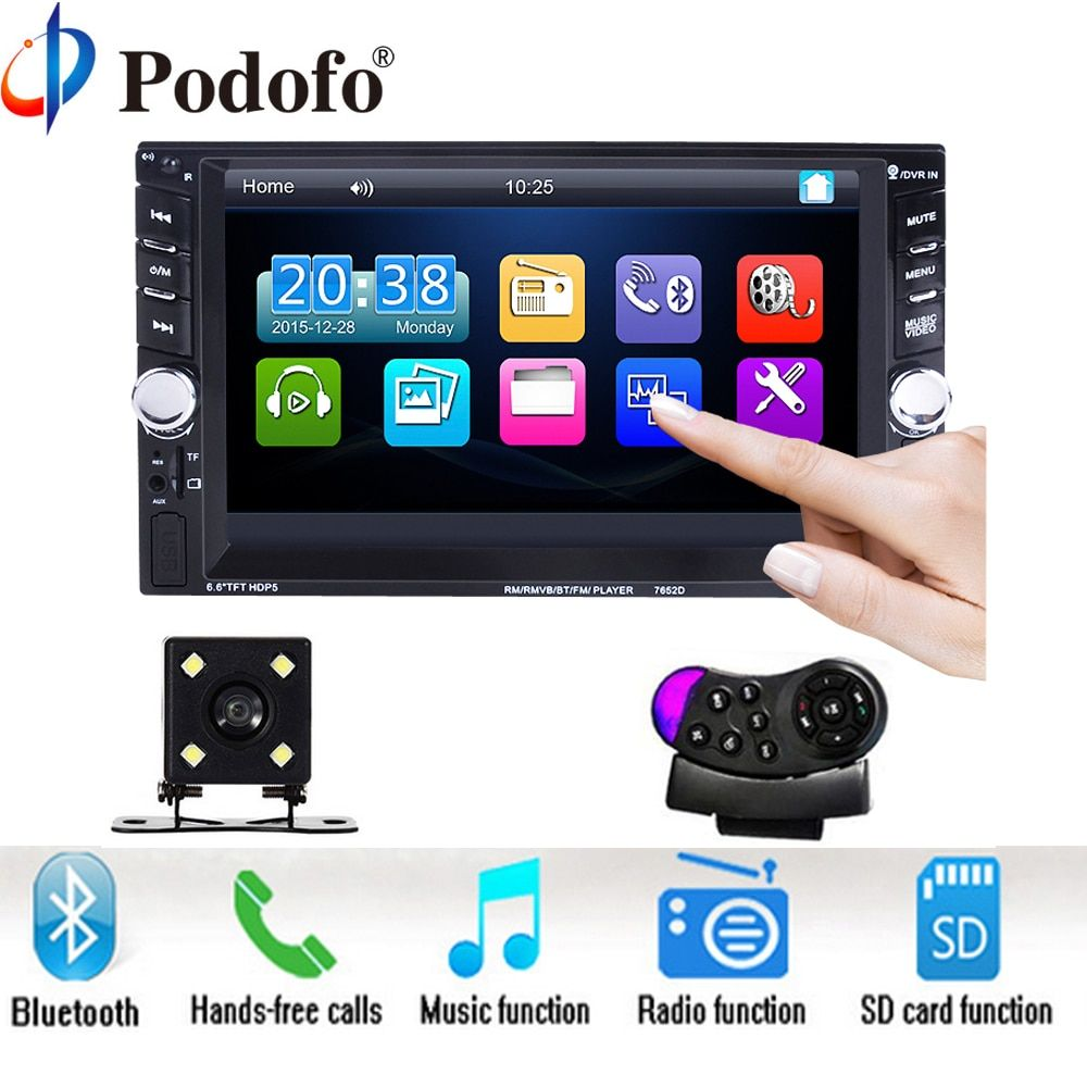 Podofo 2 Din 6.6 LCD Touch screen Car audio 12v auto radio player with bluetooth hands free rear <font><b>view</b></font> camera autoradio Stereo