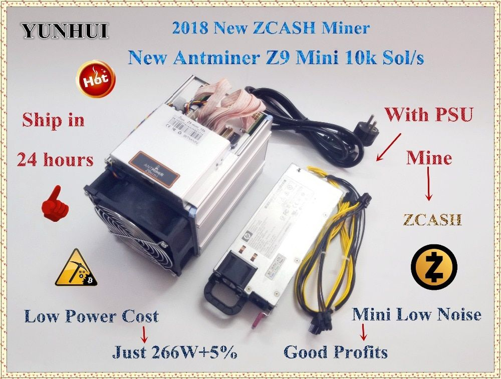 Ship in 24 hours ZCASH Miner Antminer Z9 Mini 10k Sol/s 300W Asic Equihash Miner Mine ZEN ZEC BTG better than antminer S9 to 14k
