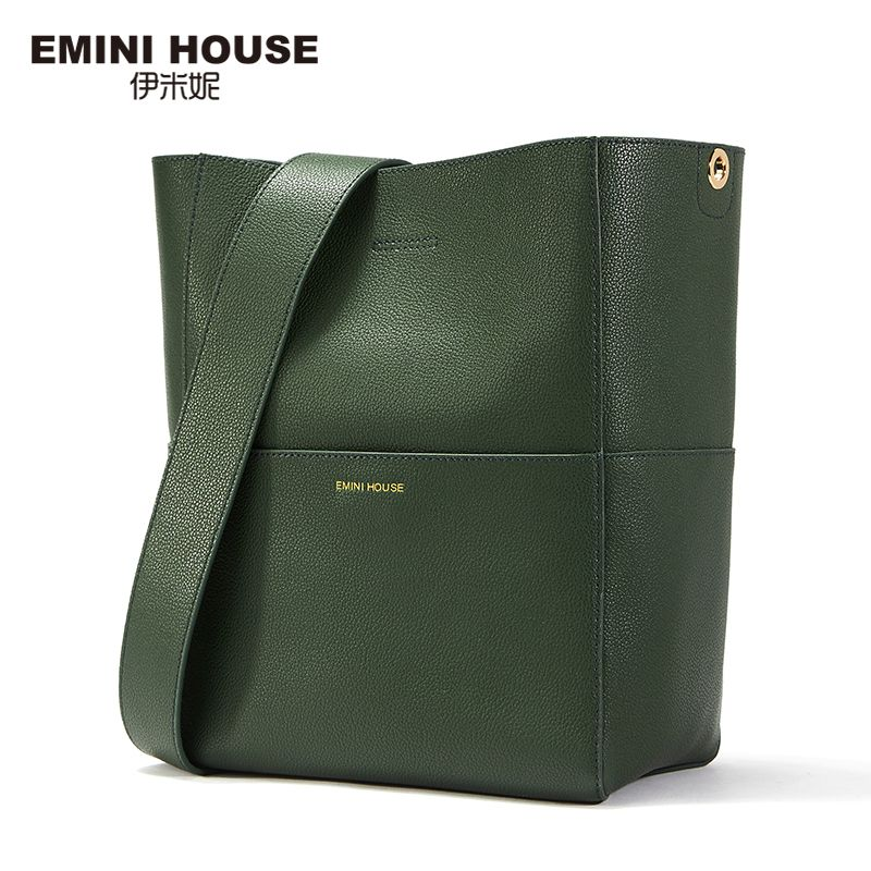 EMINI HOUSE Split Leather Tote Bag Shoulder Women Messenger Bags Ladies Leather Handbags Magnetic Buckle Crossbody Bags For Lady