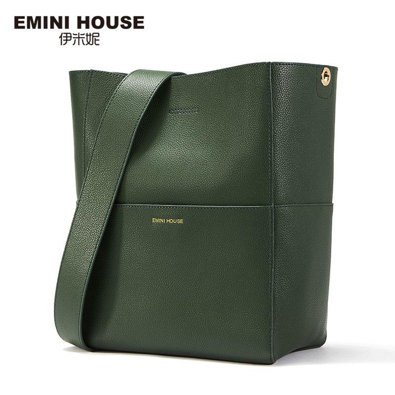 EMINI HOUSE Split Leather Tote Bag Shoulder Women Messenger Bags Ladies Leather Handbags Magnetic Buckle Crossbody Bags For Lady