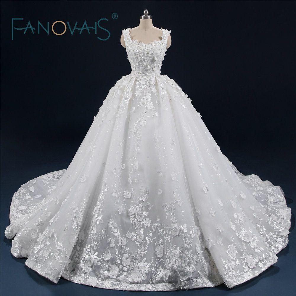 Luxus Ballkleid Hochzeit Kleider 2018 Vintage Spitze Hochzeit Kleider Blumen Vestido De Novia Robe De Mariage mit Lange Zug