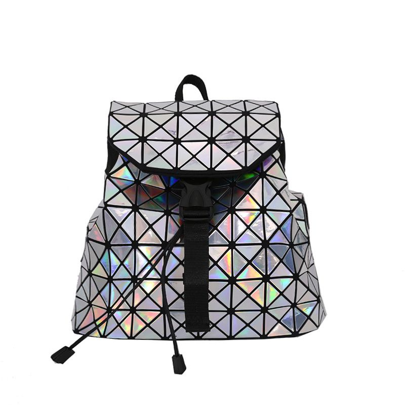 Women Small Backpack for Teenage Girls Drawstring Fold Geometry Mirror Schoolbags Quilted Backpack Holograph School Bags Mochila