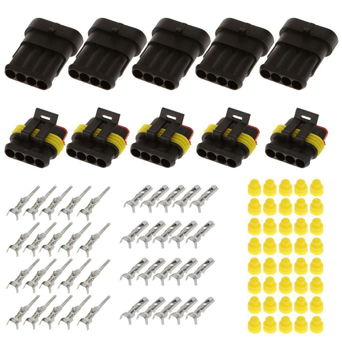 15 Sets 2 3 4 Pins Waterproof Electrical Wire Connector IP68 Motocycle Car Auto Sealed Plug