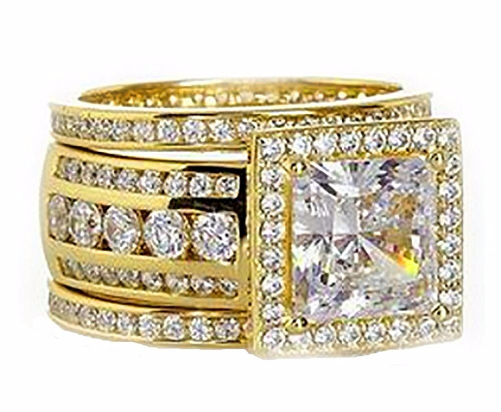 Victoria Vintage Sparkling Jewelry 3PCS Rings 925 Sterling Silver Yellow Gold Filled Princess 5A CZ Party Women 3 IN 1 Band Ring