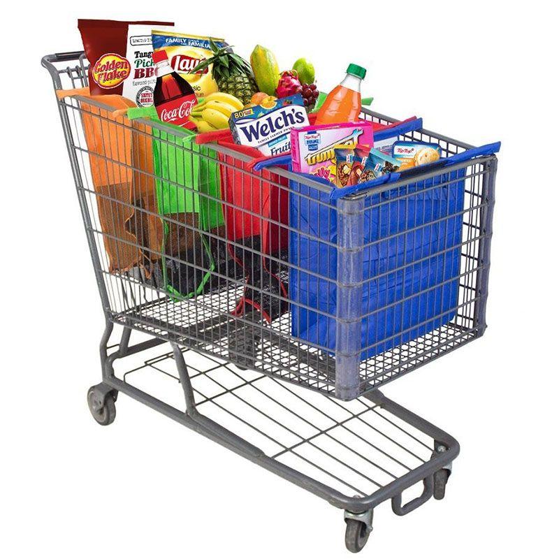 4 шт./компл. корзину тележка Сумки складной многоразовые Бакалея сумка-шоппер эко-супермаркет мешок легко Применение и тяжелых bolsas