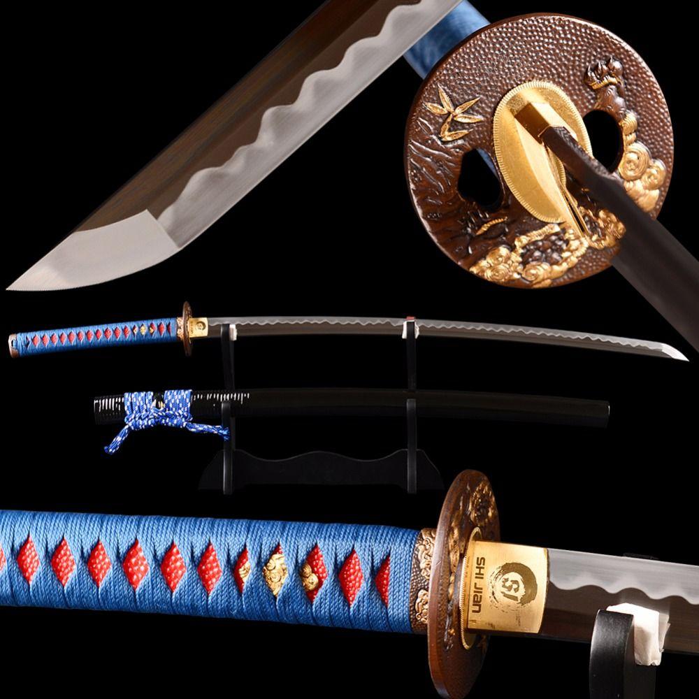 Hand Polieren Japanische Katana Samurai-schwert Fulltang Sehr Scharf 1095 Kohlenstoffstahl Lehm Ausgeglichenem Blade Espada Echtes Schwert