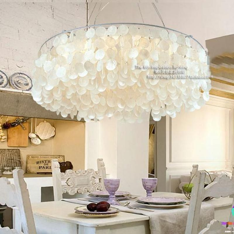 Mediterranean Style Shell Light Led Pendientes Garden home Round Shell Pendant Lamp Living Room Dining Room Suspension Luminaire