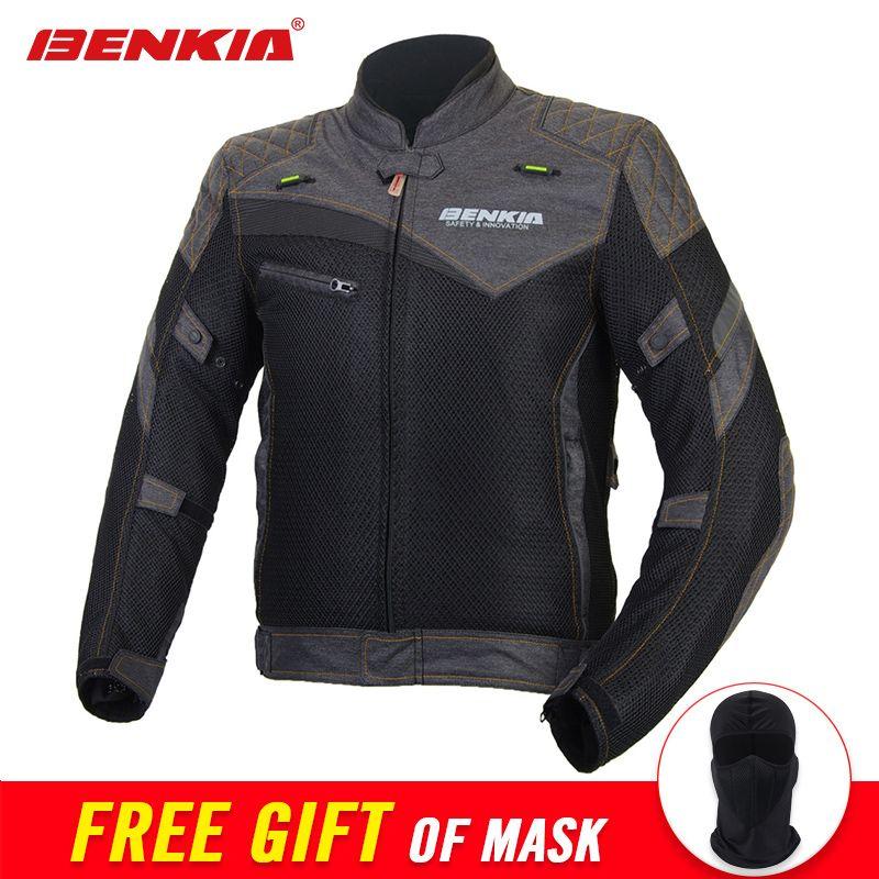BENKIA Summer Mesh Breathable Motorcycle Jacket Retro-style Chaqueta Motorbike Motocross Moto Jacket Riding Protective Gear