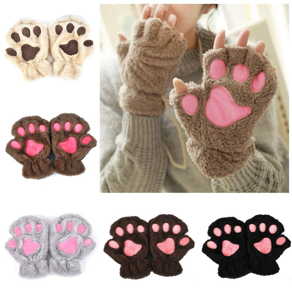 Winter Schöne Frauen Tragen Katzenkralle Pfote Handschuh Plüsch Handschuhe 2018 Kurzfinger Halbe Handschuhe Damen Halbe Abdeckung Weibliche Handschuhe