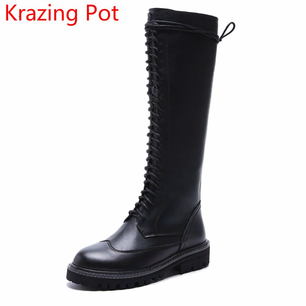2018 Lace Up Cow Leather Round Toe Med Heels Chelsea Boots Black Motorcycle Boots Keep Warm Handmade Runway Thigh High Boots L33