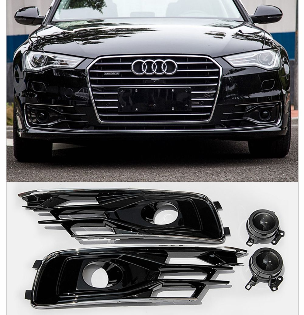 For Audi A6 C7 2016 2017 2018 Front Bumper Foglight Grille Front Fog Light Lamp Set Fog Light Lamp Grille Cover Car Styling