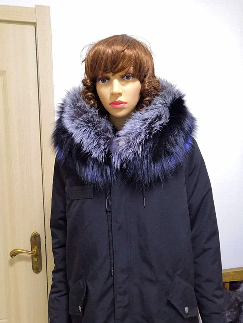 Jin li di ang real fur coat Thicken Warm Winter Coat Women Oversize 2018 Large Real Natural FOX Fur Parka Hooded Outerwear